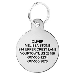 Stainless Steel Circle Shape Pet Tag