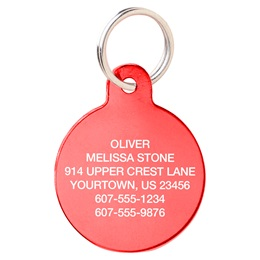 Red Aluminum Circle Shape Pet Tag
