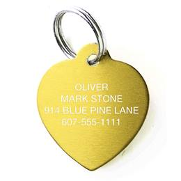 Solid Brass Heart Shape Pet Tag
