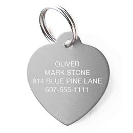 Stainless Steel Heart Shape Pet Tag