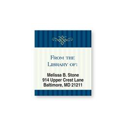 Navy Blue Pinstripe Bookplate Labels