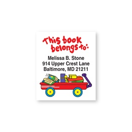 Little Red Wagon Cartoon Bookplate Labels