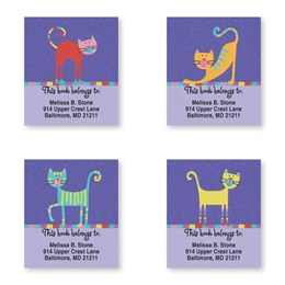 Fun Caricature Cats Assorted Bookplate Labels