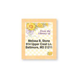 Sunflower Bouquet Checkered Bookplate Labels