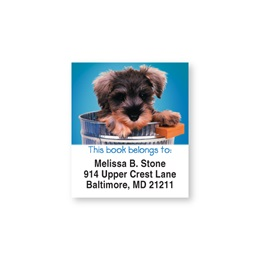 Doggone Cute Blue Bookplate Labels