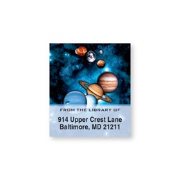 Planets in Space Bookplate Labels