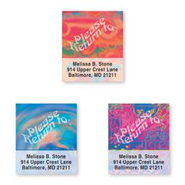 Colorful Rippled Glass Assorted Bookplate Labels