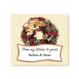 Gold Ribbon & Berries Wreath Personalized Goodie Labels