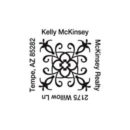 Ornate Swirly Square Self-Inking Name & Address Stamp