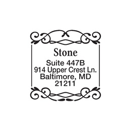 Fancy Border Personalized Square Name & Address Self-Inking Stamp