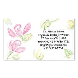 Watercolor Rose Details Single-Sided Calling Cards