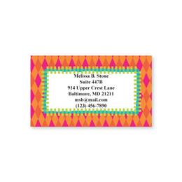 Bright Orange Diamonds Single-Sided Calling Cards