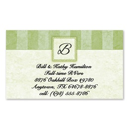 Tailored Green Elegance Single-Sided Calling Cards