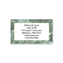 Deep Green Marble Single-Sided Calling Cards