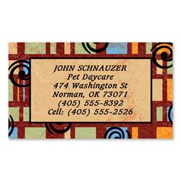 Squares and Swirls Single-Sided Calling Cards