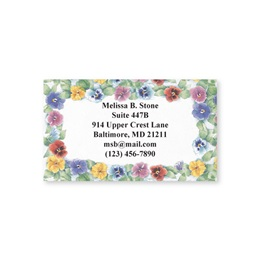 Pretty Pansies Border Single-Sided Calling Cards