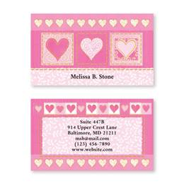 Fabulously Pink Hearts Double-Sided Calling Cards