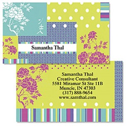 Patterned Carnation Multicolored Double-Sided Calling Cards