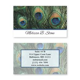 Peacock Plumage Double-Sided Calling Cards