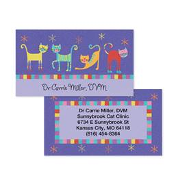 Fun Caricature Cats Double-Sided Calling Cards