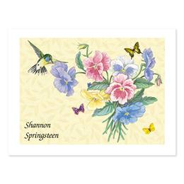 Personalized Hummingbird Patterned Note Cards