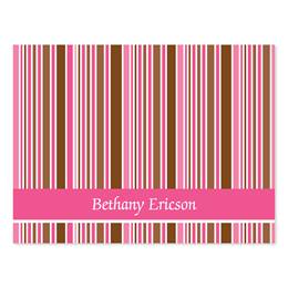 Pink & Brown Stripes Personalized Note Cards