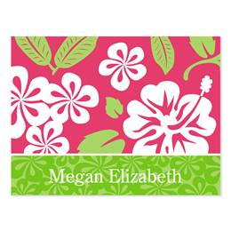 Hawaiian Pink & Green Personalized Note Cards