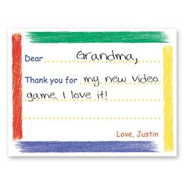 Colored Trims Personalized Kids' Thank You Cards