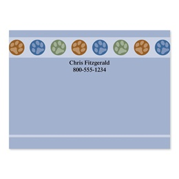 Paw Print Circles 4x3 Personalized Post-It Notes ith