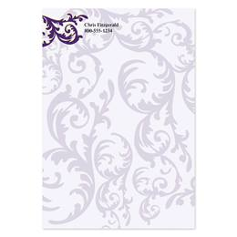 Purple Damask 4x6 Personalized Post-It Notes