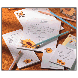 Sunflower Style Personalized Stationery & Memo Ensemble with White Envelopes