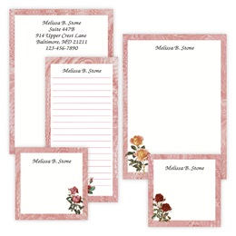 Rose Stems Personalized Stationery & Memo Ensemble with White Envelopes
