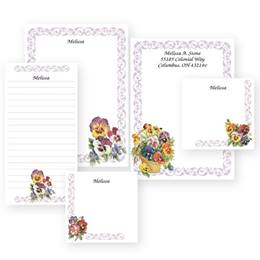 Posy of Pansies Personalized Stationery & Memo Ensemble with White Envelopes