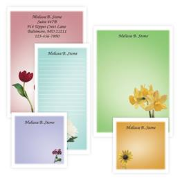 Garden Blooms Personalized Colorful Stationery & Memo Ensemble with White Envelopes