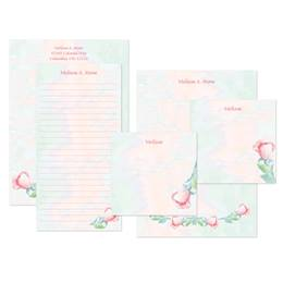 Soft Rose Watercolor Personalized Stationery & Memo Ensemble with White Envelopes