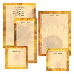 Golden Yellow Sunflower Personalized Stationery & Memo Ensemble with White Envelopes