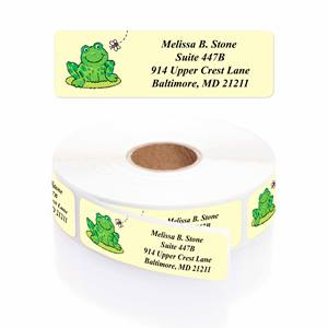 Frog on a Lily Pad Designer Rolled Address Labels with Elegant Plastic Dispenser