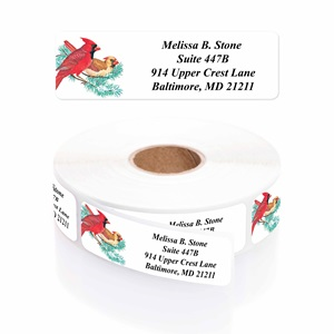 Cardinals on a Twig Designer Rolled Address Labels with Elegant Plastic Dispenser