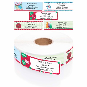 trendy christmas designer assorted address labels rolled address