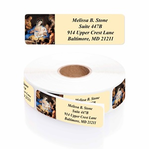 Away in a Manger Designer Rolled Address Labels with Elegant Plastic Dispenser
