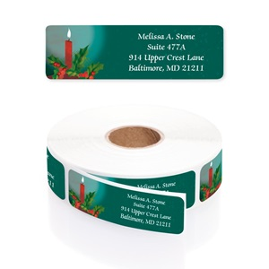 Time to Reflect Teal Designer Rolled Address Labels with Elegant Plastic Dispenser