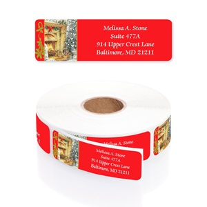 Holiday Hearth Designer Rolled Address Labels with Elegant Plastic Dispenser