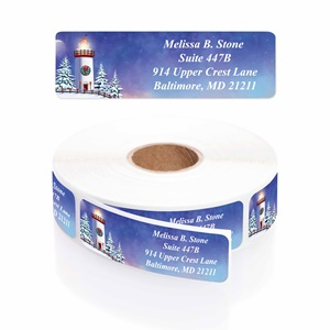 Snowy Lighthouse Designer Rolled Address Labels with Elegant Plastic Dispenser