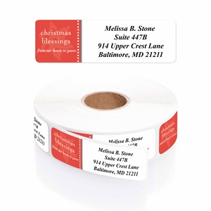 Modern Blessings Designer Rolled Address Labels with Elegant Plastic Dispenser