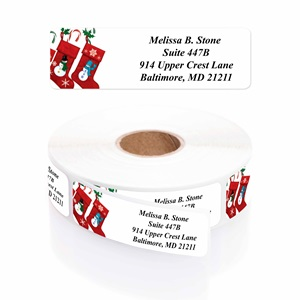Stocking Stuffers Designer Rolled Address Labels with Elegant Plastic Dispenser