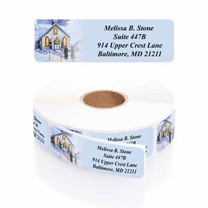 Quaint Village Designer Rolled Address Labels with Elegant Plastic Dispenser
