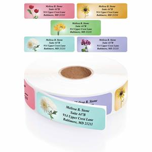 Garden Blossoms Designer Assorted Rolled Address Labels with Elegant Plastic Dispenser