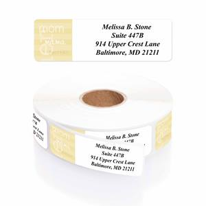 Mom-Mama-Mother Designer Rolled Address Labels with Elegant Plastic Dispenser